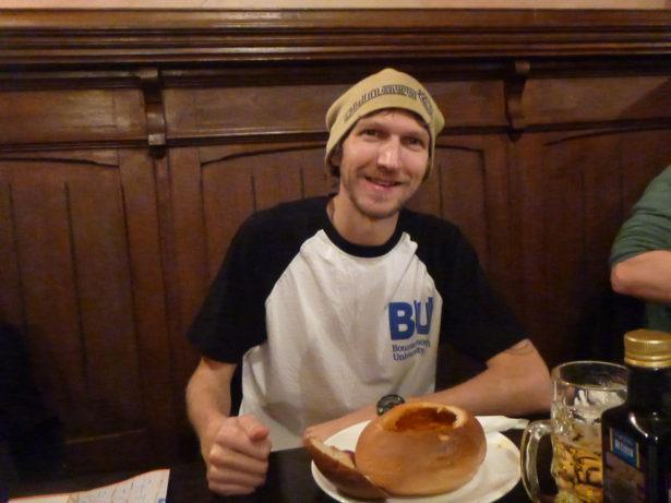 Eating at Caru' cu Bere restaurant