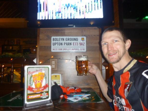 Watching AFC Bournemouth Greenwich Pub, Bishkek, Kyrgyzstan