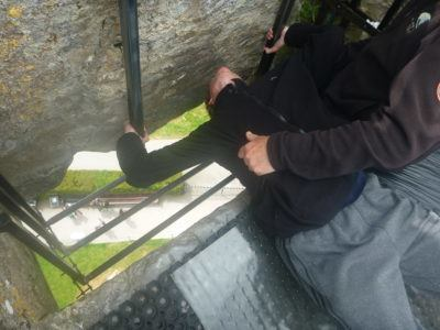 Me lower my head before kissing the Blarney Stone