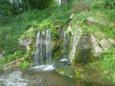 A waterfall at Blarney Castle and Gardens