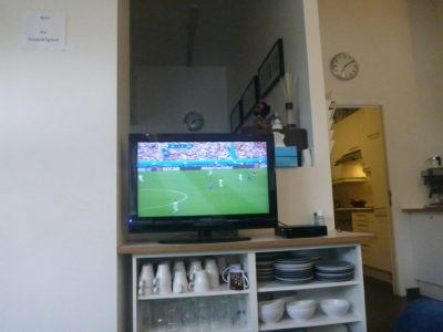 Watching the Euros at Hostel 47