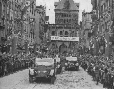 Hitler's Nazis on Ulica Długa in Gdańsk, Poland in the 1930s
