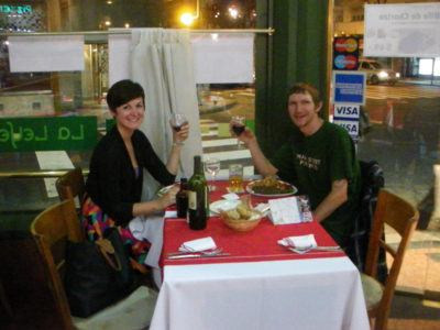 Lena and I dining out in Buenos Aires. I never saw hr again.