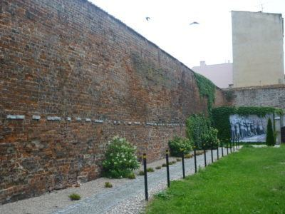 The wall where the workers were forced to line up at