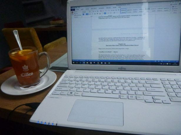 Working on my book in Gdańsk.