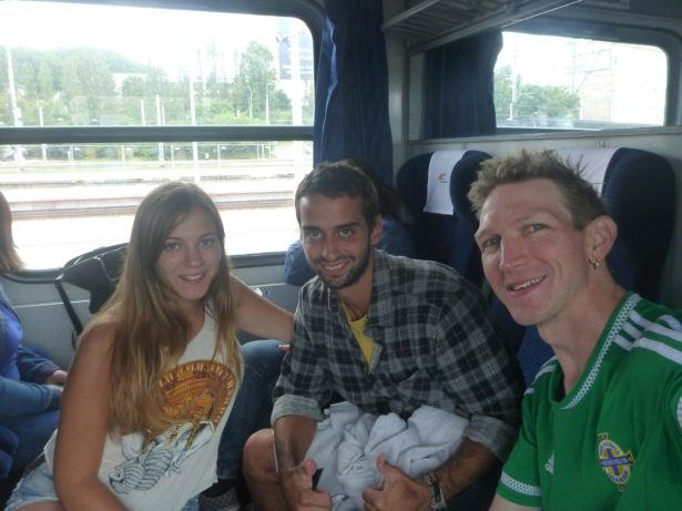 Backpacking in Poland - on a train with Marina and Jack from Gdynia to Leba