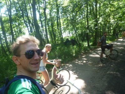 With Marina and Jack, cycling in Słowiński National Park.