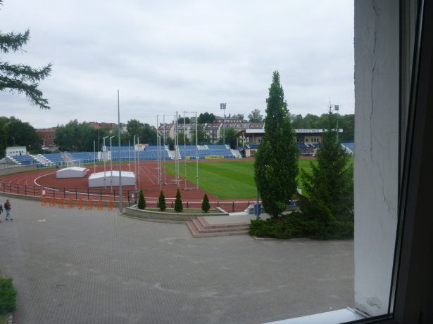 My bedroom view from room 102 on the football pitch!