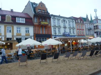 The beer garden and beach in the Rynek