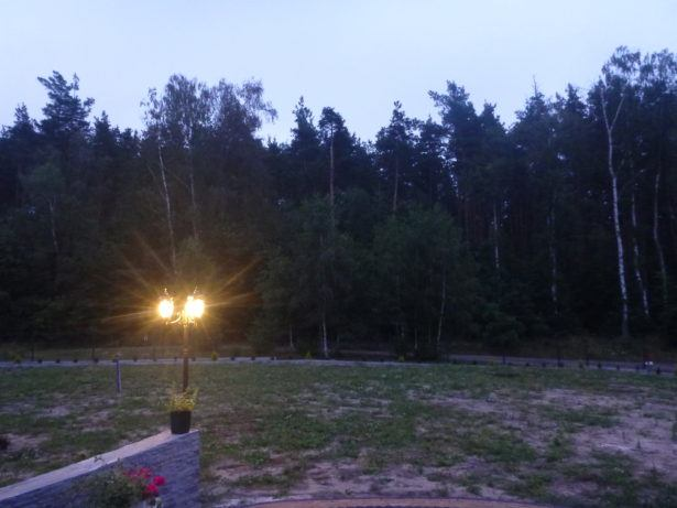 Evening view from the front of Jacek's place in Rywałd.
