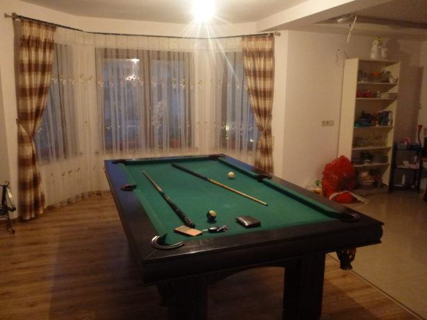 Pool table at Jacek's place.