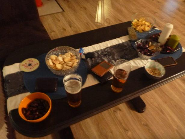 Snacks and drinks at Jacek's place in Rywałd.