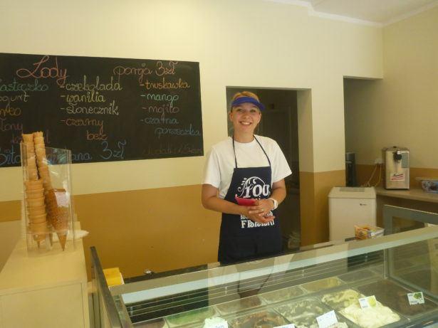 Claudia at Wrzoskiewicz Ice Cream Parlour