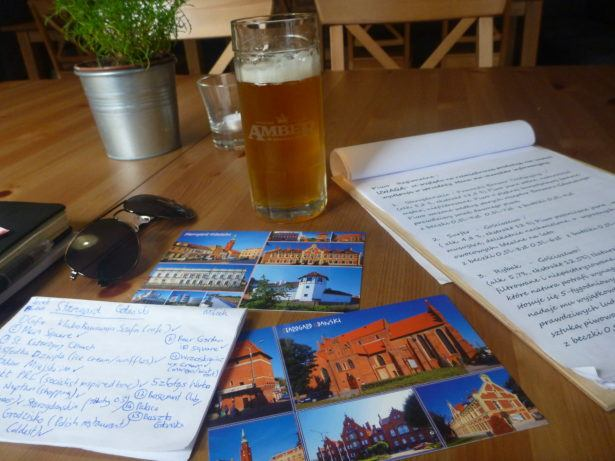 Writing postcards in Starogard Gdański