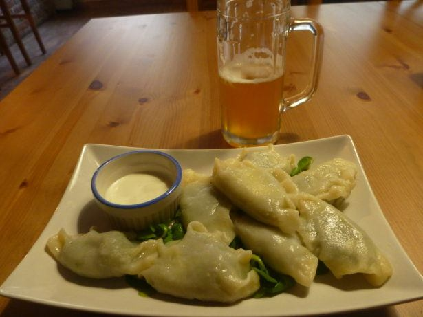 Pierogi and beer in Browar