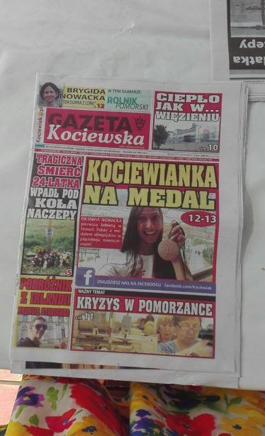 On the front page of Gazeta Kociewska next to an Olympic medal winner!