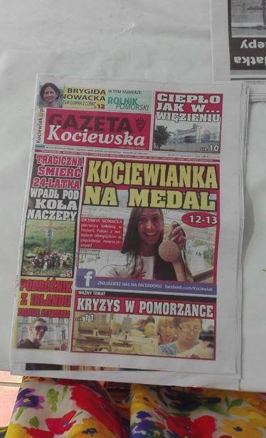 On the front page of Gazeta Kociewska next to an Olympic medal winner!