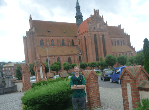 Tourist Pelplin Abbey - outside the church