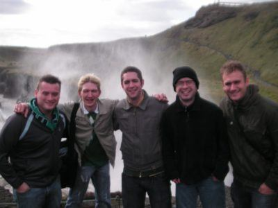 The lads and I at Gullfoss - Owen, me, Michael, Gavin, John.