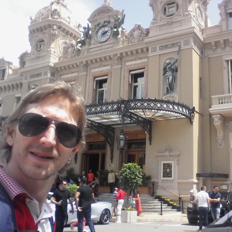 Outside the famous Monte Carlo Casino in Monaco.