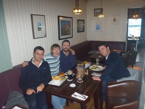 Ryan Smith, Scott Callen and Dougie Gordon on a rare school reunion in 2014 in Bangor, my hometown