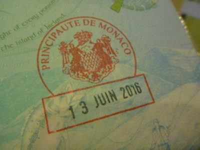 Getting my passport stamped in the Principality of Monaco