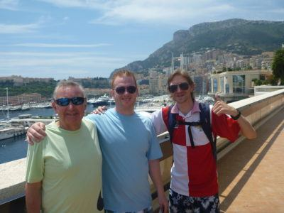 With Dad and Marko by Port Hercule Harbour Front