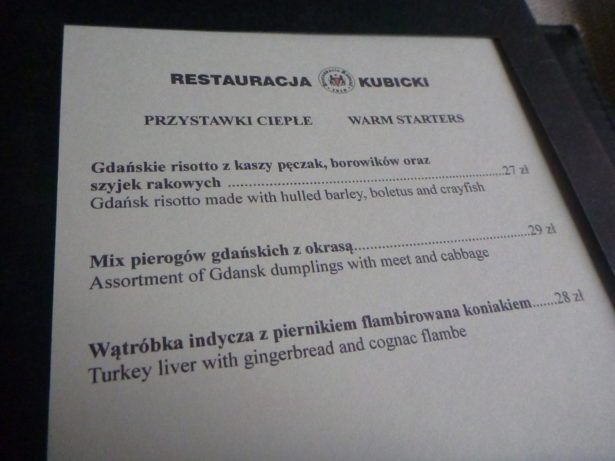 The menu at Kubicki, Oldest Restaurant in Gdansk.
