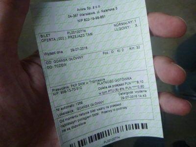 My train ticket from Gdańsk Główny to Tczew