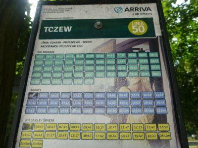 Pruszcz Gdański to Tczew timetable