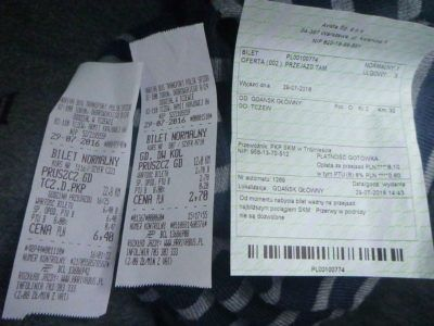 3 bus tickets including my last one from Pruszcz Gdański to Tczew!