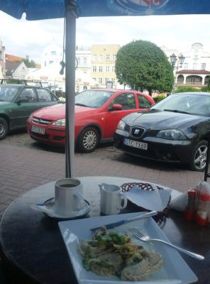 Pierogi and coffee at Plac Hallera