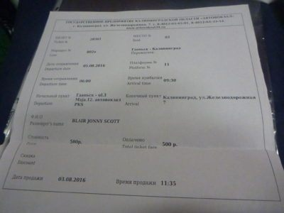 My bus ticket from Gdansk to Kaliningrad