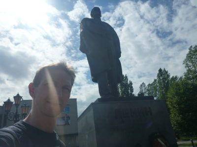 Lenin and I backpacking in Kaliningrad