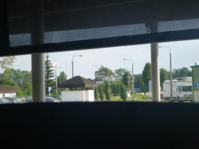At the Polish side of the border from the Gdańsk to Kaliningrad bus