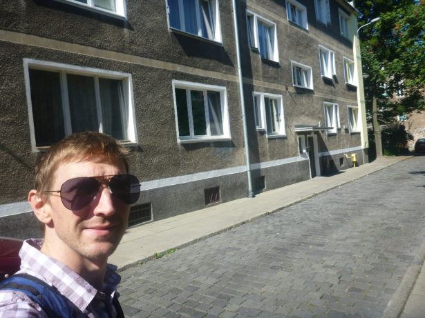 Outside my new flat in Gdańsk.