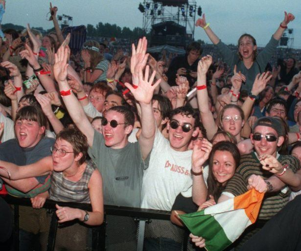 Oasis fans in 1996 at Pairc Ui Chaoimh, Cork, Republic of Ireland