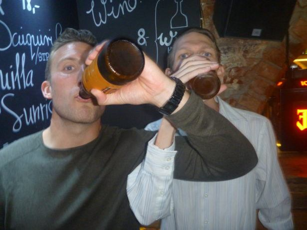 Drinking Brudershaft style with Grant