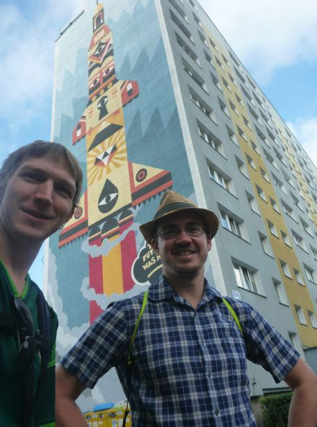 Millwall Neil and I Touring the Artistic Walls Murals in the District of Zaspa, Gdańsk, Poland