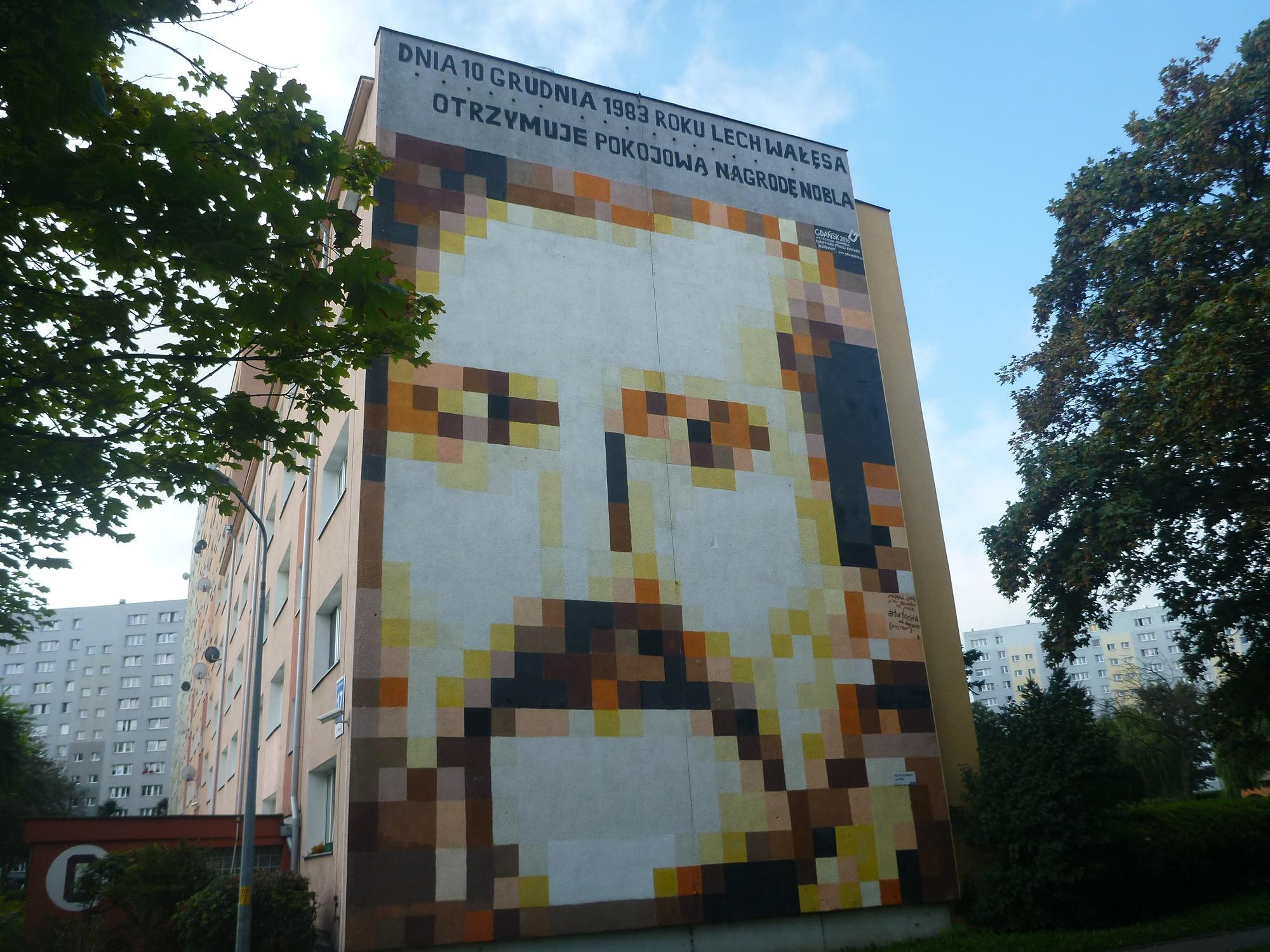 The famous Lech Wałęsa mural in Zaspa, Gdańsk, Poland