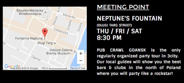 Meeting place of Pub Crawl Gdańsk, Poland