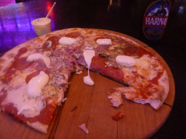 Pizza and beer in You Don't Know Jack - oldest pub in Bydgoszcz