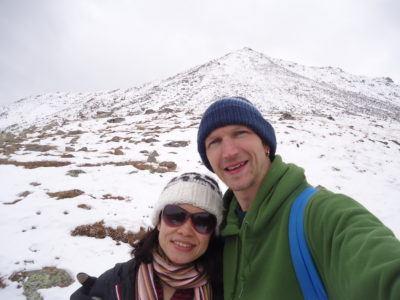 Enjoying the snow in Gergeti