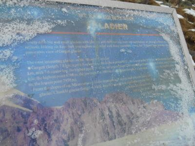 Frozen over information boards we had to clear of ice
