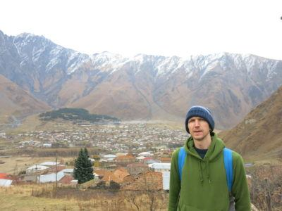 View over Kazbegi on the way up