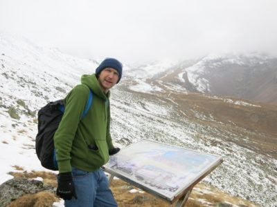 Reading an information board on the hike