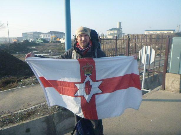 Flying my Northern Ireland flag before leaving Tajikistan
