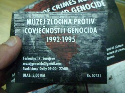 My ticket for the Genocide Museum in Sarajevo
