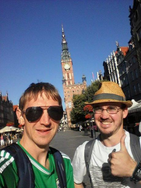 Millwall Neil and I at the Old Town Square in Gdansk, Poland.
