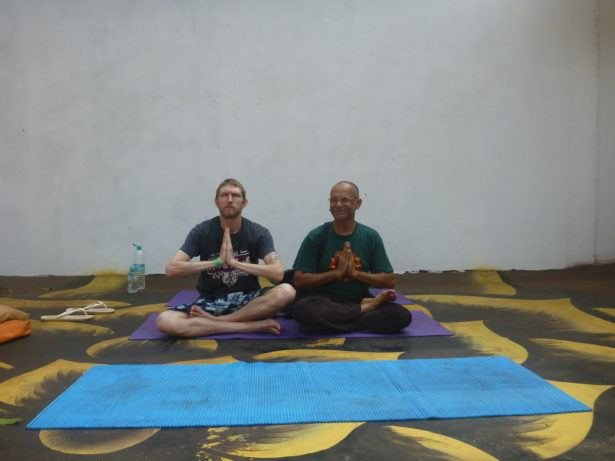 Doing yoga in Vagator, Goa, India